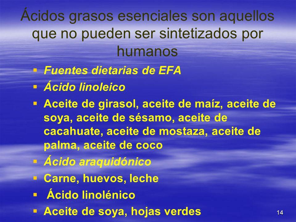 14 Ácidos grasos esenciales son aquellos que no pueden ser sintetizados por humanos Fuentes dietarias de EFA Ácido linoleico Aceite de girasol, aceite