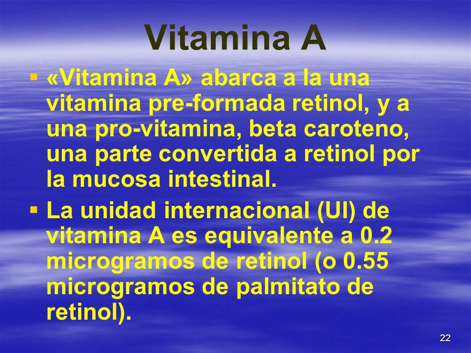 22 Vitamina A «Vitamina A» abarca a la una vitamina pre-formada retinol, y a una pro-vitamina, beta caroteno, una parte convertida a retinol por la mu