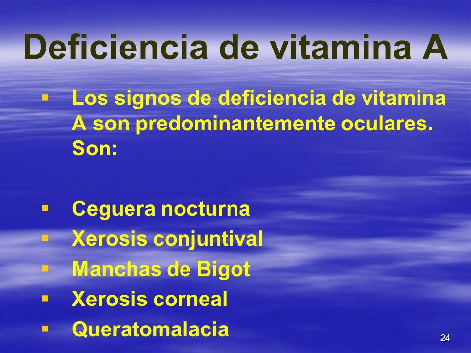 24 Deficiencia de vitamina A Los signos de deficiencia de vitamina A son predominantemente oculares. Son: Ceguera nocturna Xerosis conjuntival Manchas