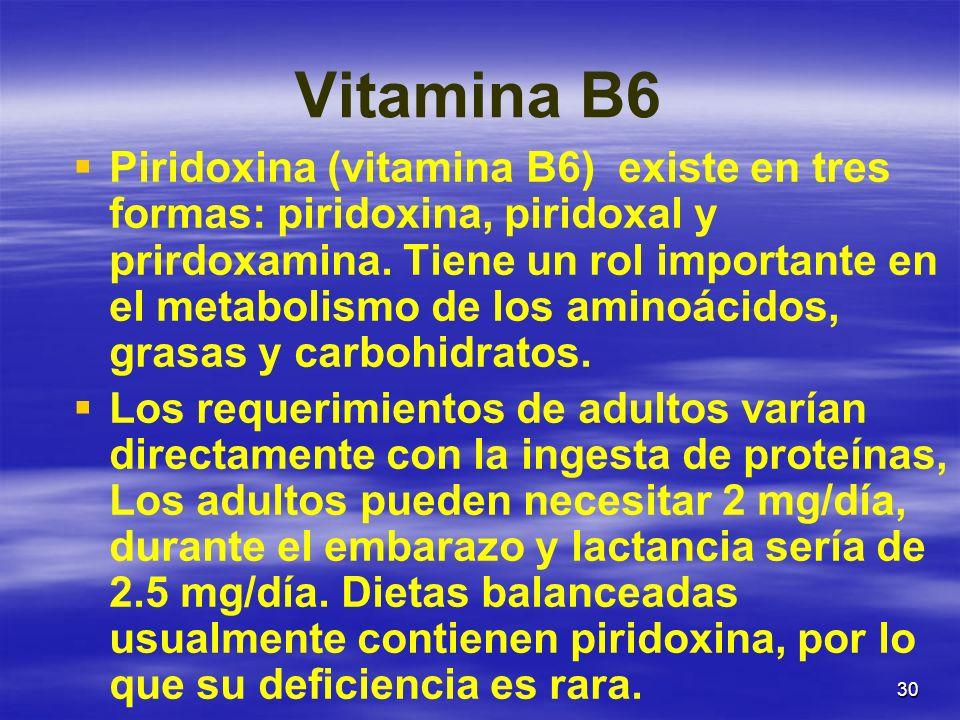 30 Vitamina B6 Piridoxina (vitamina B6) existe en tres formas: piridoxina, piridoxal y prirdoxamina. Tiene un rol importante en el metabolismo de los