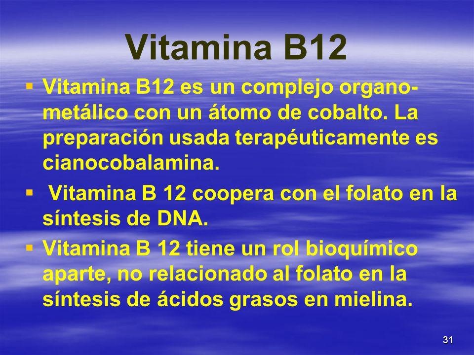 31 Vitamina B12 Vitamina B12 es un complejo organo- metálico con un átomo de cobalto. La preparación usada terapéuticamente es cianocobalamina. Vitami