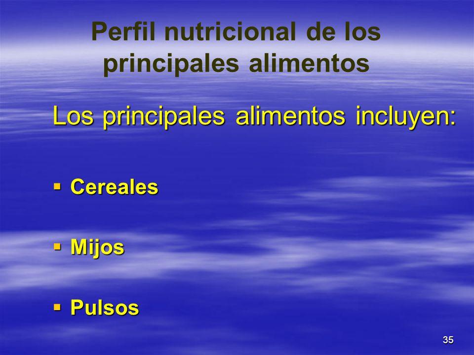 35 Perfil nutricional de los principales alimentos Los principales alimentos incluyen: Cereales Cereales Mijos Mijos Pulsos Pulsos