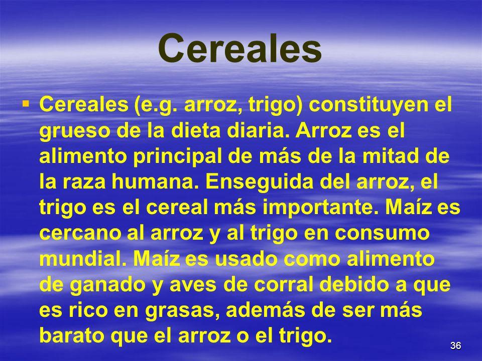 36 Cereales Cereales (e.g. arroz, trigo) constituyen el grueso de la dieta diaria. Arroz es el alimento principal de más de la mitad de la raza humana