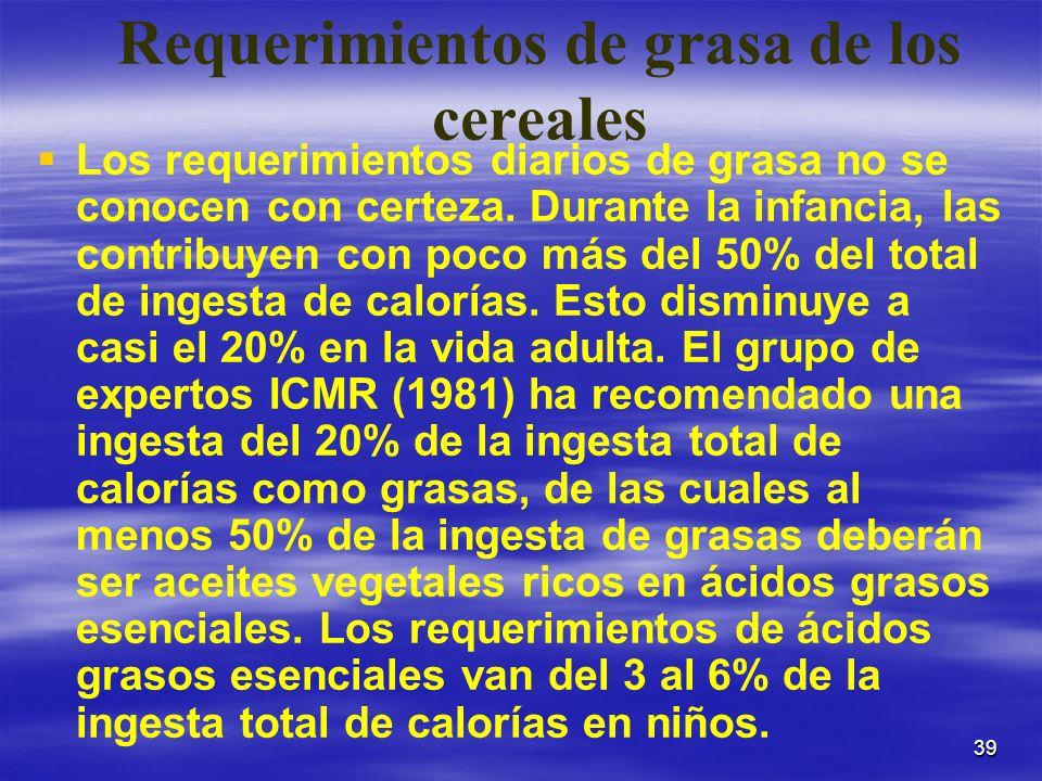 39 Requerimientos de grasa de los cereales Los requerimientos diarios de grasa no se conocen con certeza. Durante la infancia, las contribuyen con poc