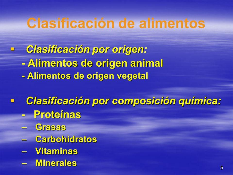 5 Clasificación de alimentos Clasificación por origen: Clasificación por origen: - Alimentos de origen animal - Alimentos de origen animal - Alimentos