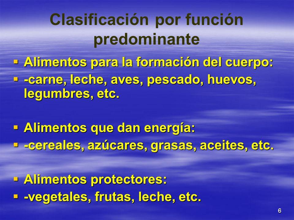 6 Clasificación por función predominante Alimentos para la formación del cuerpo: Alimentos para la formación del cuerpo: -carne, leche, aves, pescado,