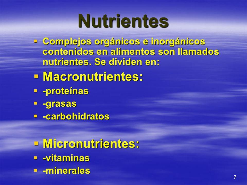 7 Nutrientes Complejos orgánicos e inorgánicos contenidos en alimentos son llamados nutrientes. Se dividen en: Complejos orgánicos e inorgánicos conte