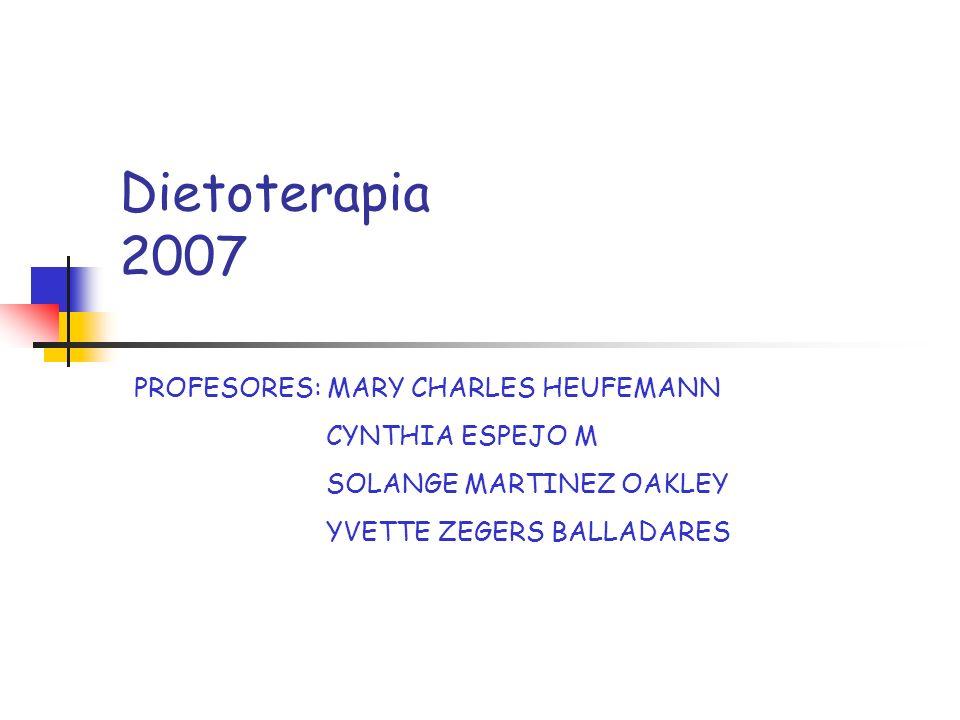 Dietoterapia 2007 PROFESORES: MARY CHARLES HEUFEMANN CYNTHIA ESPEJO M SOLANGE MARTINEZ OAKLEY YVETTE ZEGERS BALLADARES