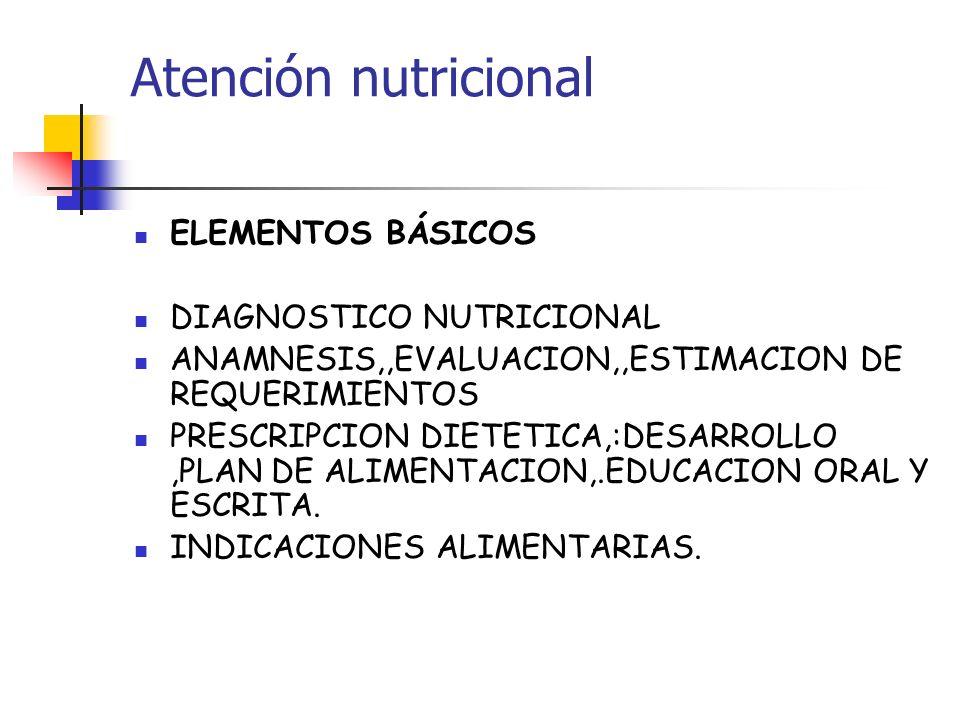 Atención nutricional ELEMENTOS BÁSICOS DIAGNOSTICO NUTRICIONAL ANAMNESIS,,EVALUACION,,ESTIMACION DE REQUERIMIENTOS PRESCRIPCION DIETETICA,:DESARROLLO,