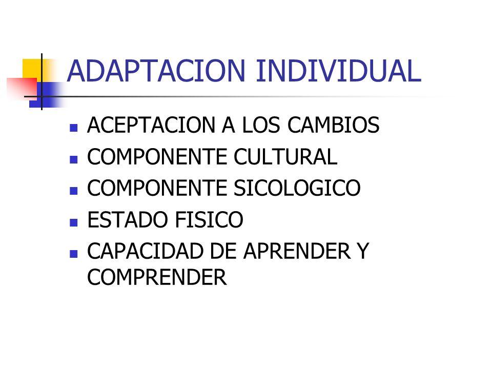 ADAPTACION INDIVIDUAL ACEPTACION A LOS CAMBIOS COMPONENTE CULTURAL COMPONENTE SICOLOGICO ESTADO FISICO CAPACIDAD DE APRENDER Y COMPRENDER