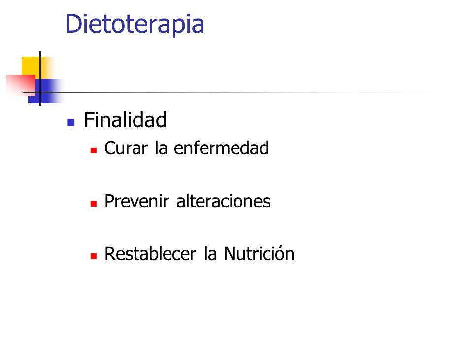 Dietoterapia Finalidad Curar la enfermedad Prevenir alteraciones Restablecer la Nutrición