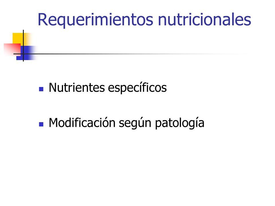 Requerimientos nutricionales Nutrientes específicos Modificación según patología