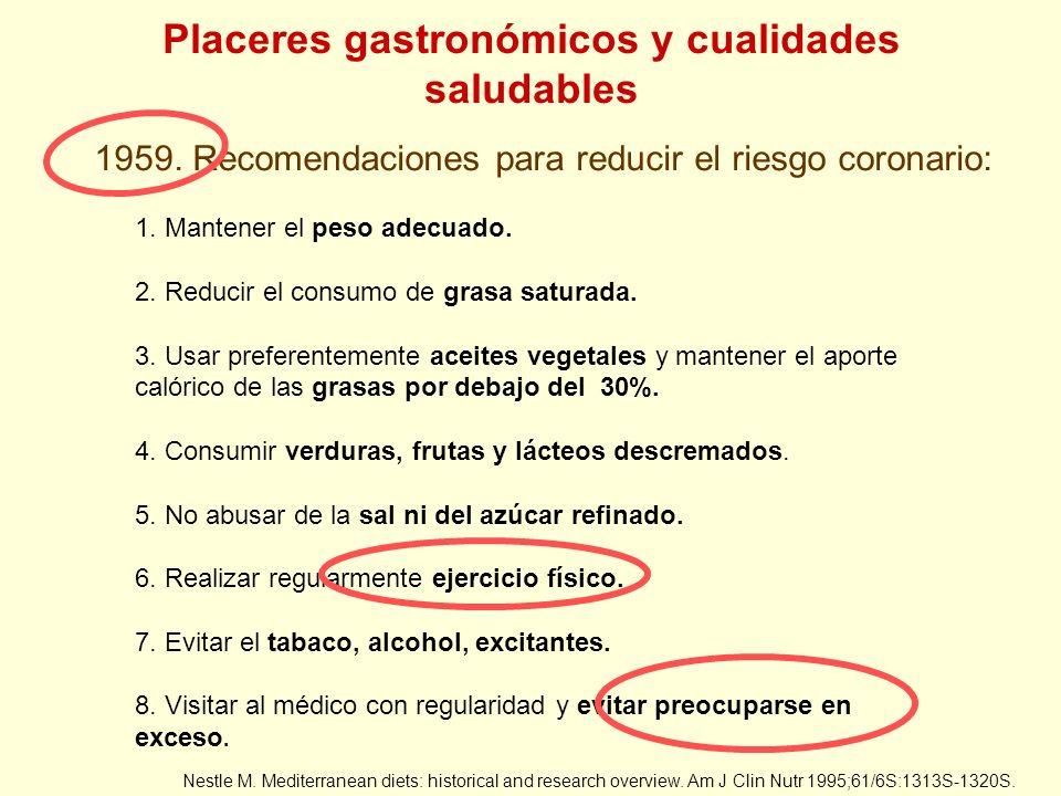 Placeres gastronómicos y cualidades saludables 1959. Recomendaciones para reducir el riesgo coronario: Nestle M. Mediterranean diets: historical and r