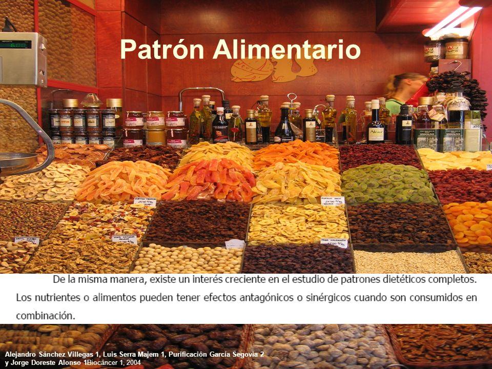 Patrón Alimentario Alejandro Sánchez Villegas 1, Luis Serra Majem 1, Purificación García Segovia 2 y Jorge Doreste Alonso 1Biocáncer 1, 2004