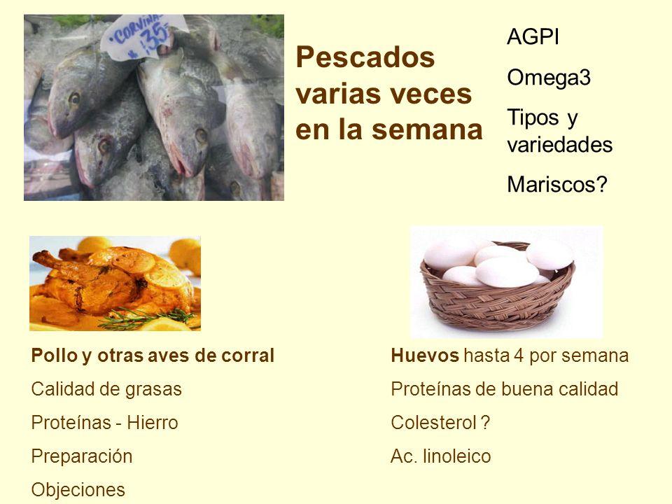 Pescados varias veces en la semana Huevos hasta 4 por semana Proteínas de buena calidad Colesterol ? Ac. linoleico AGPI Omega3 Tipos y variedades Mari