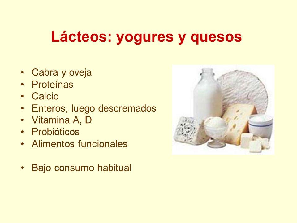 Lácteos: yogures y quesos Cabra y oveja Proteínas Calcio Enteros, luego descremados Vitamina A, D Probióticos Alimentos funcionales Bajo consumo habitual