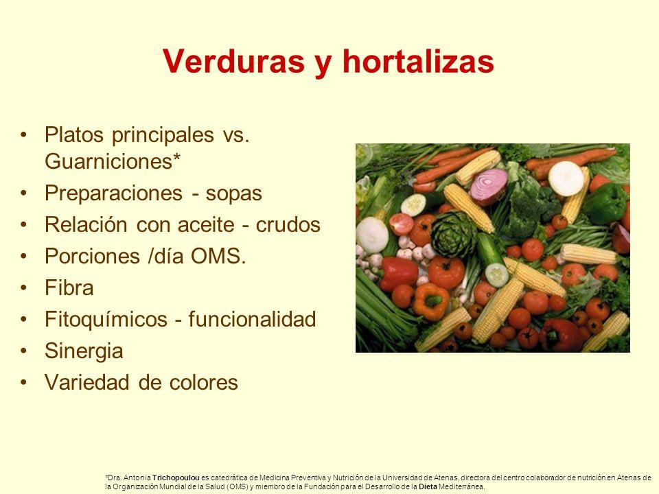 Verduras y hortalizas Platos principales vs. Guarniciones* Preparaciones - sopas Relación con aceite - crudos Porciones /día OMS. Fibra Fitoquímicos -