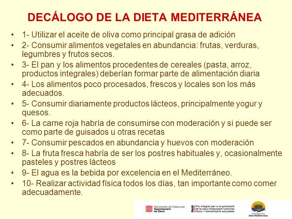 DECÁLOGO DE LA DIETA MEDITERRÁNEA 1- Utilizar el aceite de oliva como principal grasa de adición 2- Consumir alimentos vegetales en abundancia: frutas