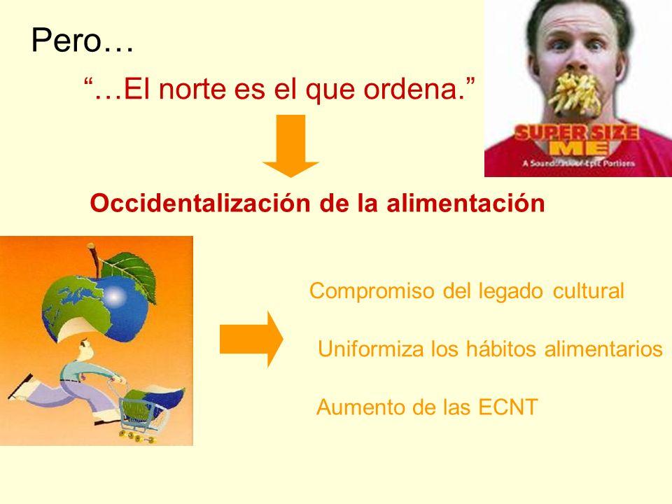 Pero… …El norte es el que ordena. Occidentalización de la alimentación Aumento de las ECNT Compromiso del legado cultural Uniformiza los hábitos alime