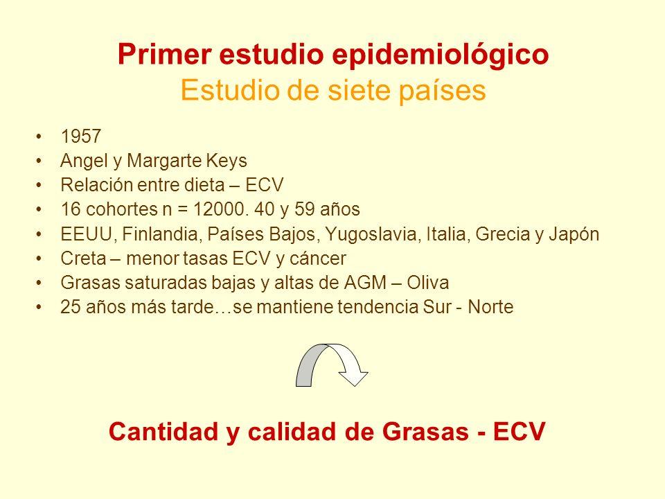 Primer estudio epidemiológico Estudio de siete países 1957 Angel y Margarte Keys Relación entre dieta – ECV 16 cohortes n = 12000. 40 y 59 años EEUU,