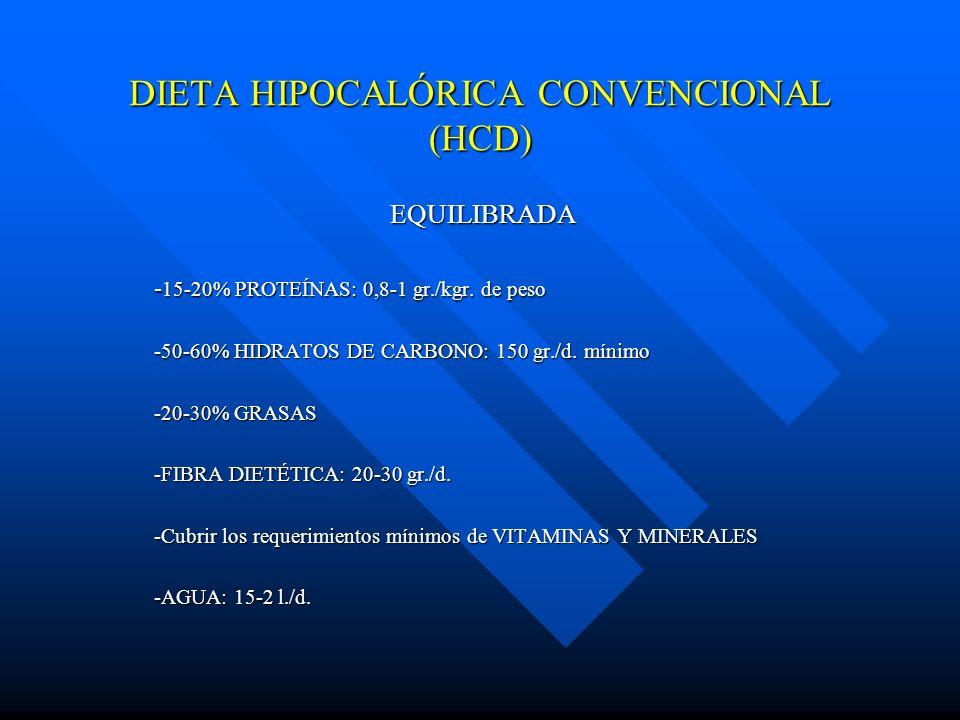 DIETA HIPOCALÓRICA CONVENCIONAL (HCD) EQUILIBRADA EQUILIBRADA - 15-20% PROTEÍNAS: 0,8-1 gr./kgr. de peso -50-60% HIDRATOS DE CARBONO: 150 gr./d. mínim