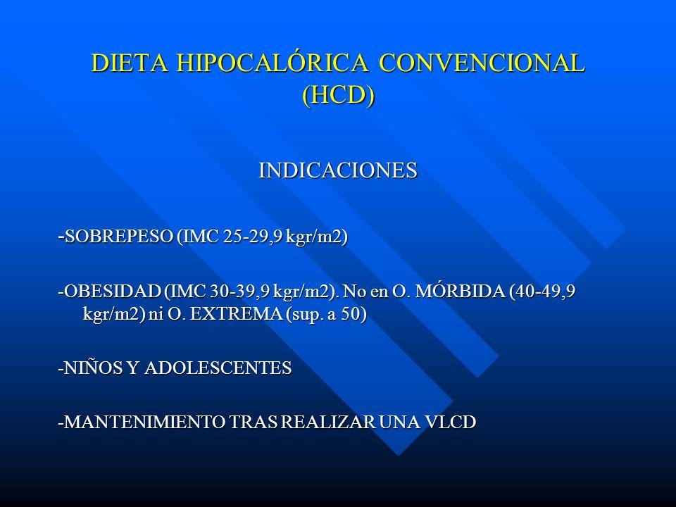 DIETA HIPOCALÓRICA CONVENCIONAL (HCD) INDICACIONES - SOBREPESO (IMC 25-29,9 kgr/m2) -OBESIDAD (IMC 30-39,9 kgr/m2). No en O. MÓRBIDA (40-49,9 kgr/m2)