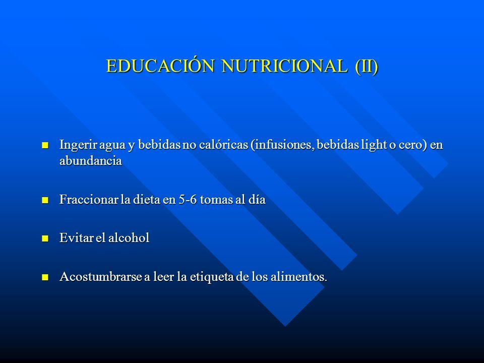 EDUCACIÓN NUTRICIONAL (II) Ingerir agua y bebidas no calóricas (infusiones, bebidas light o cero) en abundancia Ingerir agua y bebidas no calóricas (i