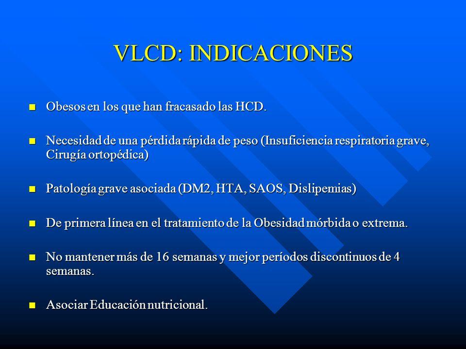 VLCD: INDICACIONES Obesos en los que han fracasado las HCD. Obesos en los que han fracasado las HCD. Necesidad de una pérdida rápida de peso (Insufici