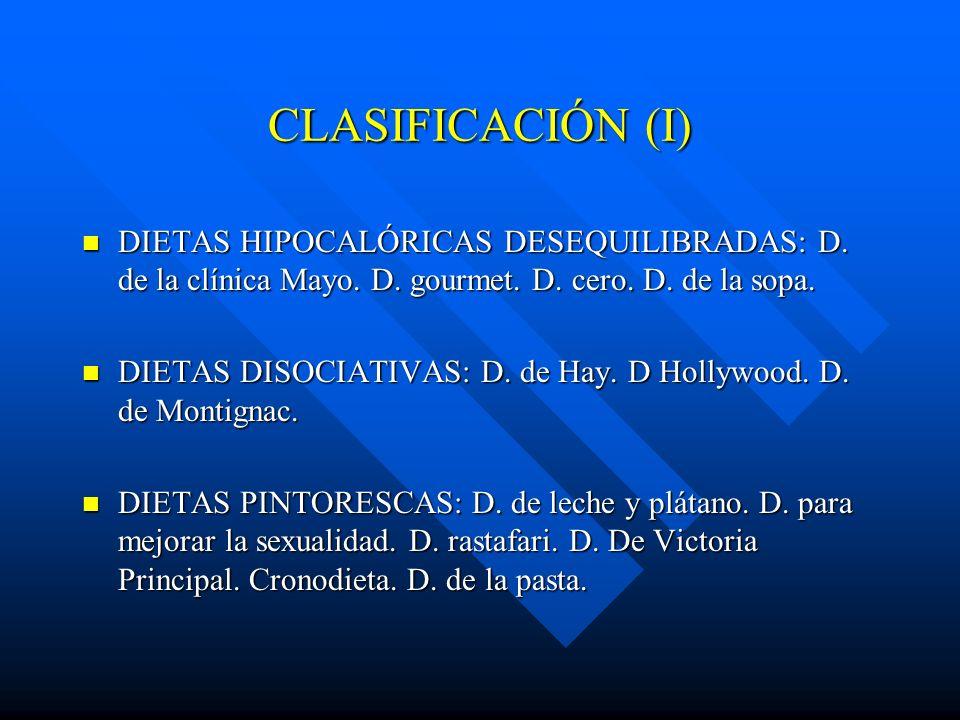 CLASIFICACIÓN (I) DIETAS HIPOCALÓRICAS DESEQUILIBRADAS: D. de la clínica Mayo. D. gourmet. D. cero. D. de la sopa. DIETAS HIPOCALÓRICAS DESEQUILIBRADA