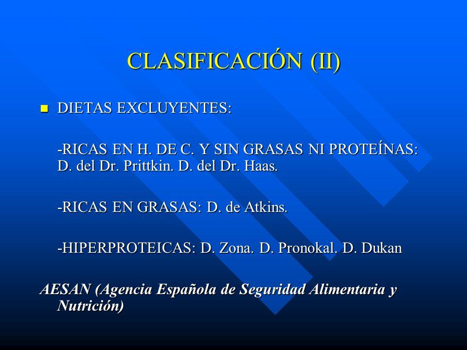 CLASIFICACIÓN (II) DIETAS EXCLUYENTES: DIETAS EXCLUYENTES: -RICAS EN H. DE C. Y SIN GRASAS NI PROTEÍNAS: D. del Dr. Prittkin. D. del Dr. Haas. -RICAS