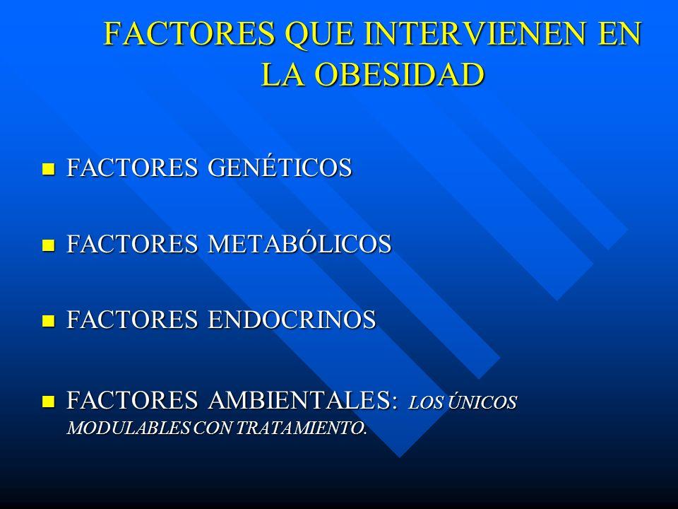 FACTORES QUE INTERVIENEN EN LA OBESIDAD FACTORES GENÉTICOS FACTORES GENÉTICOS FACTORES METABÓLICOS FACTORES METABÓLICOS FACTORES ENDOCRINOS FACTORES E