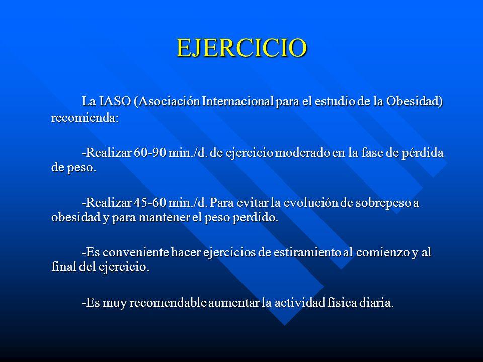 EJERCICIO La IASO (Asociación Internacional para el estudio de la Obesidad) recomienda: -Realizar 60-90 min./d. de ejercicio moderado en la fase de pé