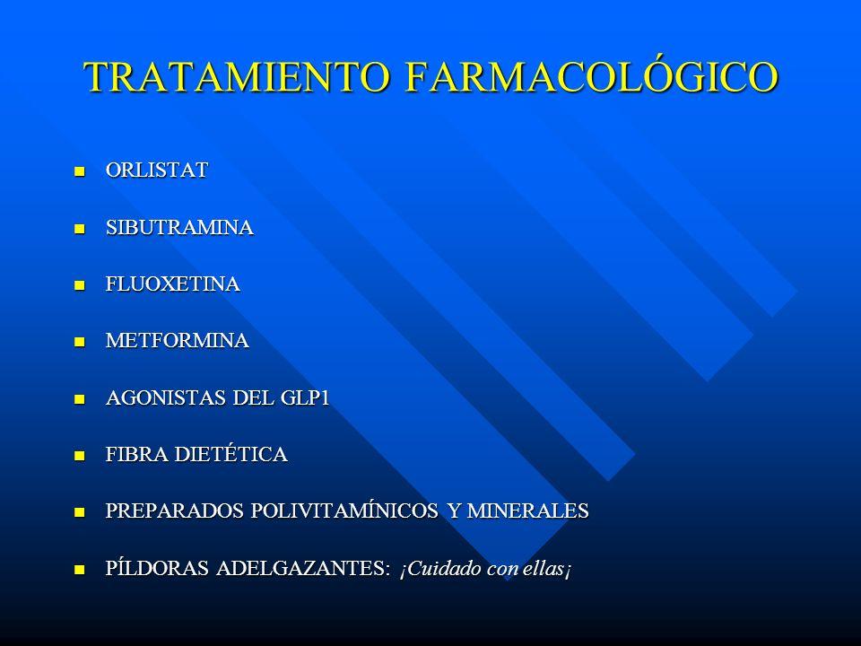 TRATAMIENTO FARMACOLÓGICO ORLISTAT ORLISTAT SIBUTRAMINA SIBUTRAMINA FLUOXETINA FLUOXETINA METFORMINA METFORMINA AGONISTAS DEL GLP1 AGONISTAS DEL GLP1