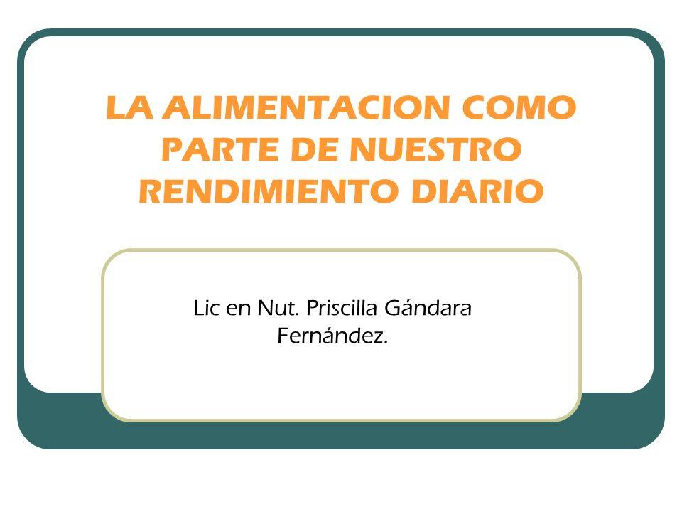LA ALIMENTACION COMO PARTE DE NUESTRO RENDIMIENTO DIARIO Lic en Nut. Priscilla Gándara Fernández.