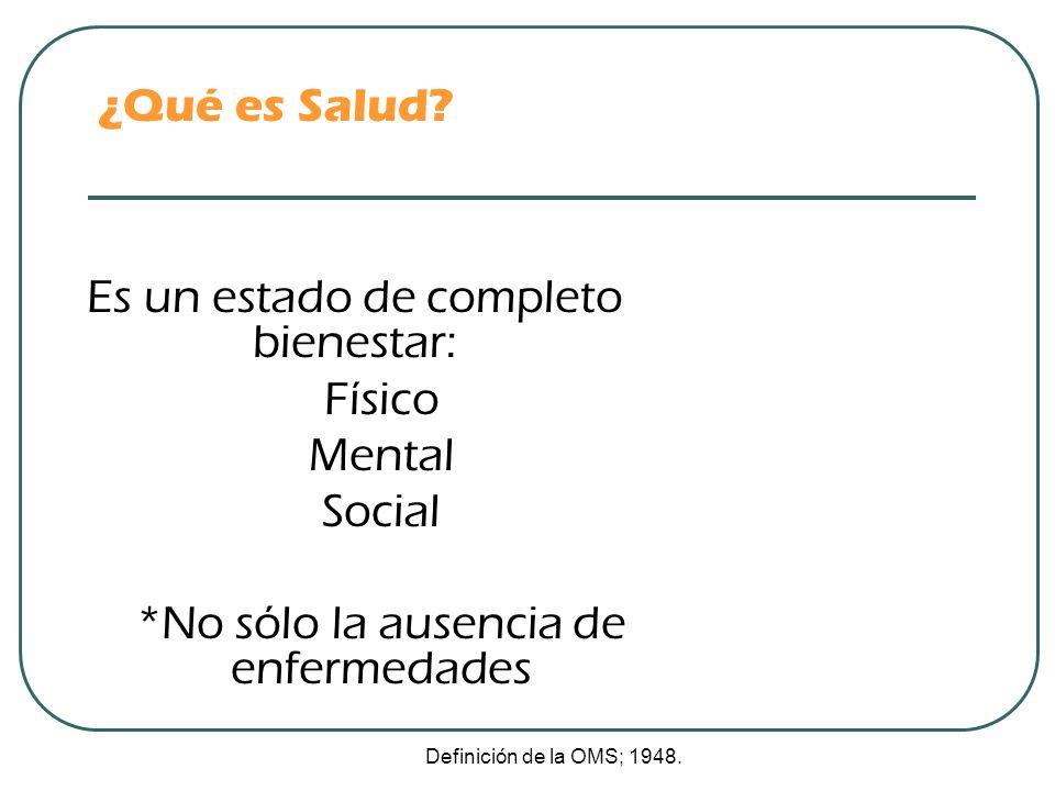 ¿Qué es Salud? Es un estado de completo bienestar: Físico Mental Social *No sólo la ausencia de enfermedades Definición de la OMS; 1948.