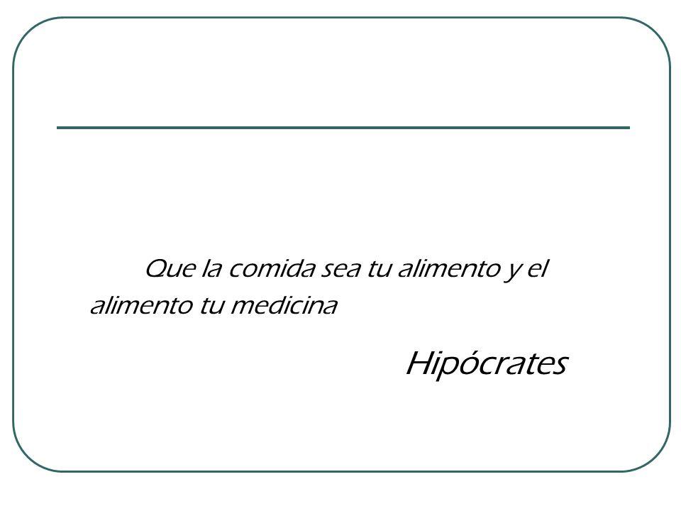 Que la comida sea tu alimento y el alimento tu medicina Hipócrates