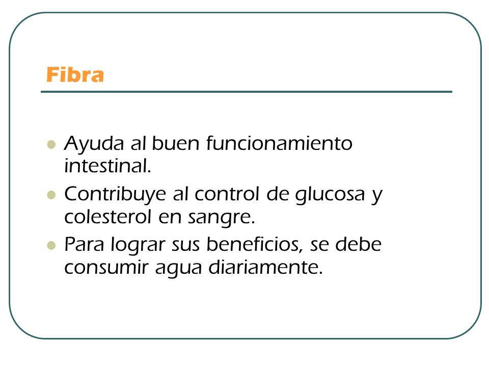 Fibra Ayuda al buen funcionamiento intestinal. Contribuye al control de glucosa y colesterol en sangre. Para lograr sus beneficios, se debe consumir a