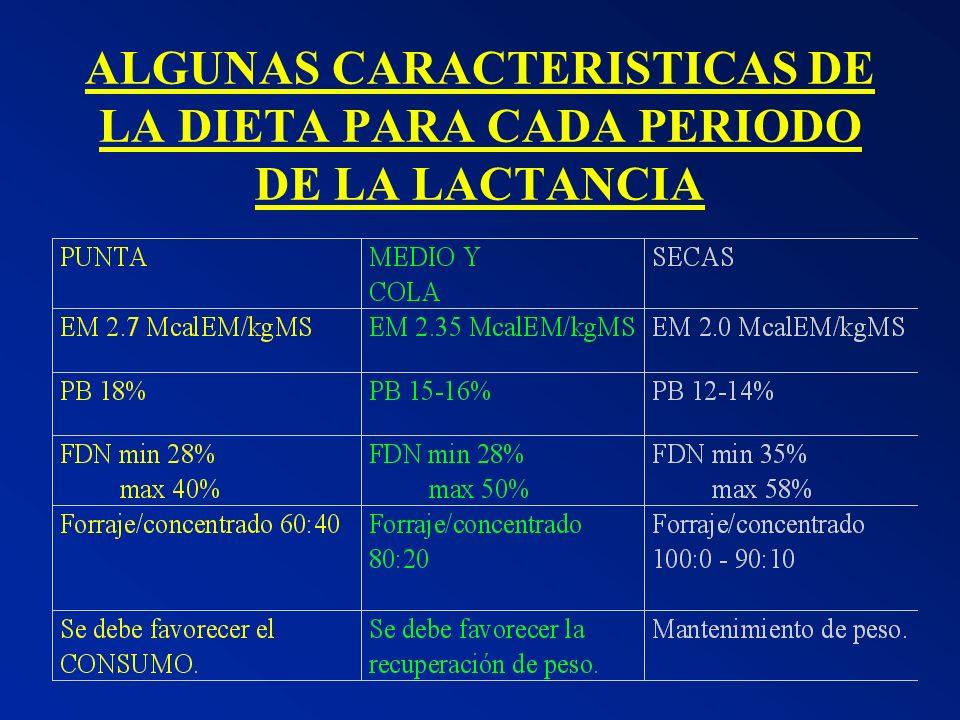 ALGUNAS CARACTERISTICAS DE LA DIETA PARA CADA PERIODO DE LA LACTANCIA
