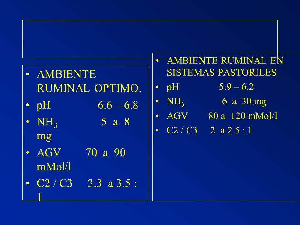AMBIENTE RUMINAL OPTIMO. pH 6.6 – 6.8 NH 3 5 a 8 mg AGV 70 a 90 mMol/l C2 / C3 3.3 a 3.5 : 1 AMBIENTE RUMINAL EN SISTEMAS PASTORILES pH 5.9 – 6.2 NH 3