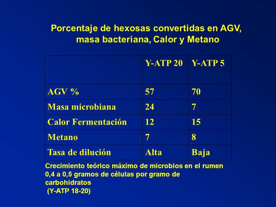 Y-ATP 20Y-ATP 5 AGV %5770 Masa microbiana247 Calor Fermentación1215 Metano78 Tasa de diluciónAltaBaja Crecimiento teórico máximo de microbios en el ru