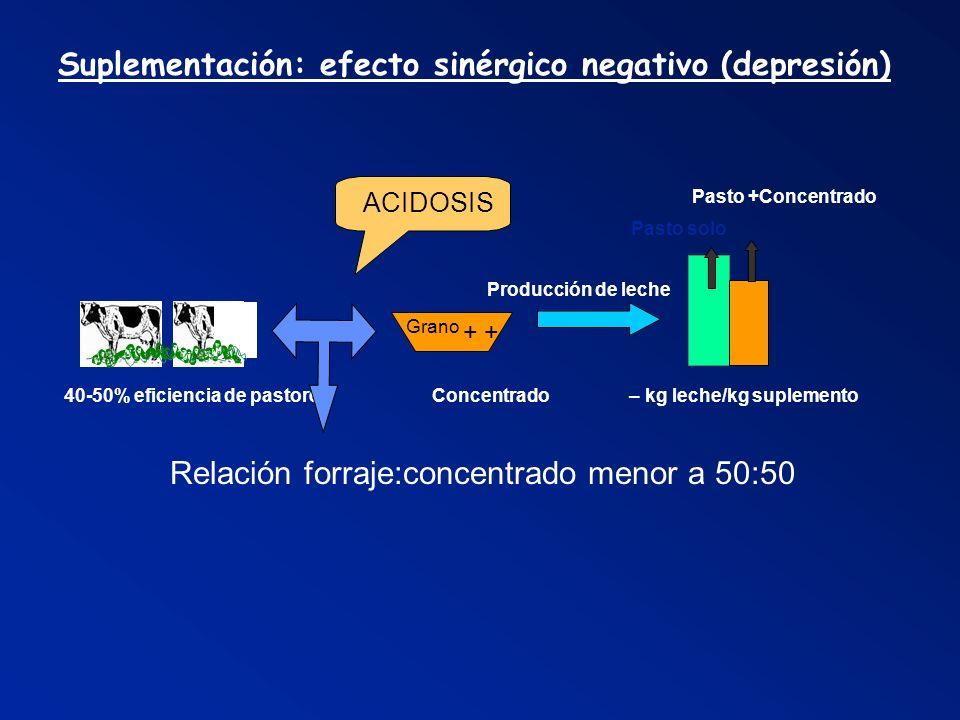 Suplementación: efecto sinérgico negativo (depresión) Pasto +Concentrado Pasto solo Producción de leche 40-50% eficiencia de pastoreo Concentrado – kg