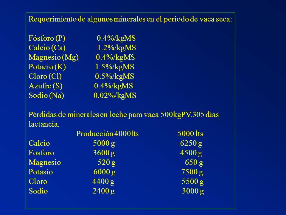 Requerimiento de algunos minerales en el período de vaca seca: Fósforo (P) 0.4%/kgMS Calcio (Ca) 1.2%/kgMS Magnesio (Mg) 0.4%/kgMS Potacio (K) 1.5%/kg
