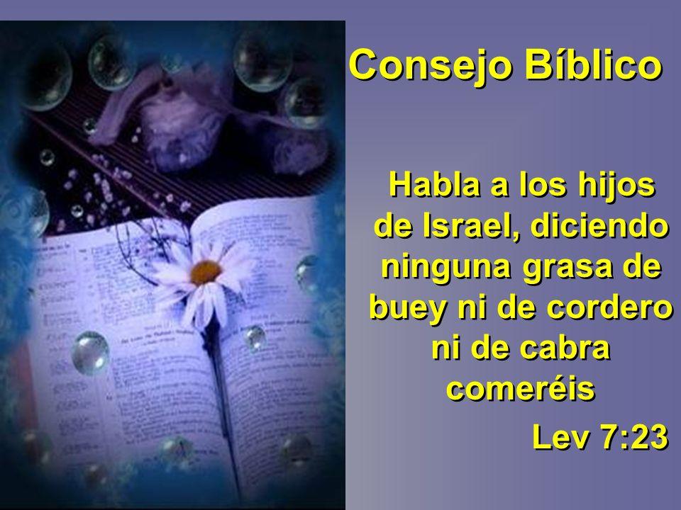 Consejo Bíblico Habla a los hijos de Israel, diciendo ninguna grasa de buey ni de cordero ni de cabra comeréis Lev 7:23 Habla a los hijos de Israel, diciendo ninguna grasa de buey ni de cordero ni de cabra comeréis Lev 7:23
