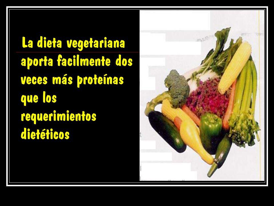 La dieta vegetariana aporta facilmente dos veces más proteínas que los requerimientos dietéticos