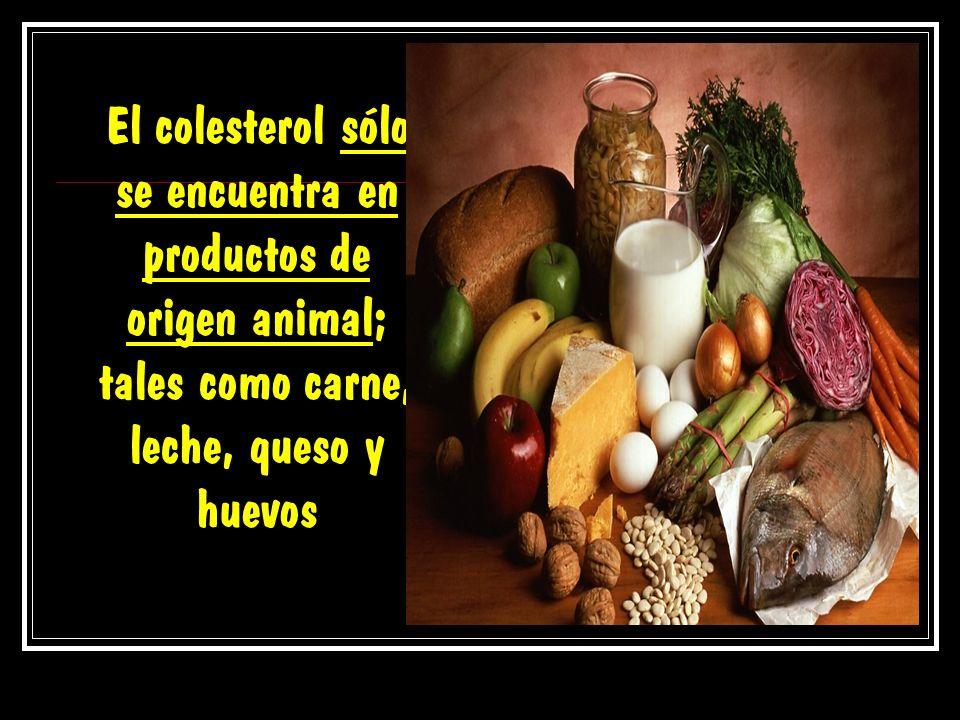 El colesterol sólo se encuentra en productos de origen animal; tales como carne, leche, queso y huevos