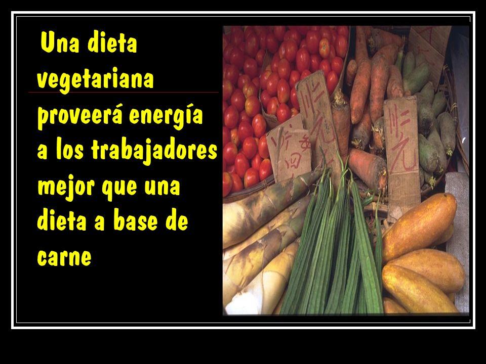 Una dieta vegetariana proveerá energía a los trabajadores mejor que una dieta a base de carne