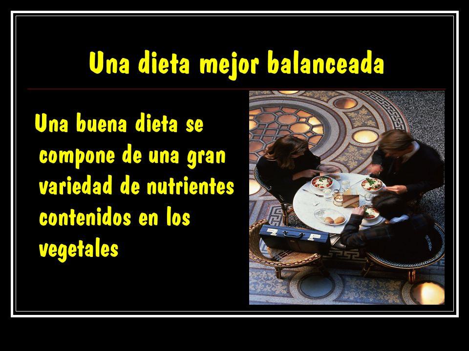 Una dieta mejor balanceada Una buena dieta se compone de una gran variedad de nutrientes contenidos en los vegetales
