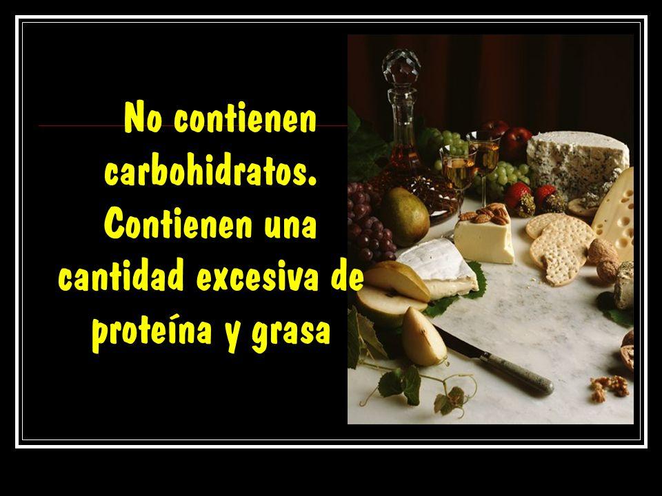 No contienen carbohidratos. Contienen una cantidad excesiva de proteína y grasa