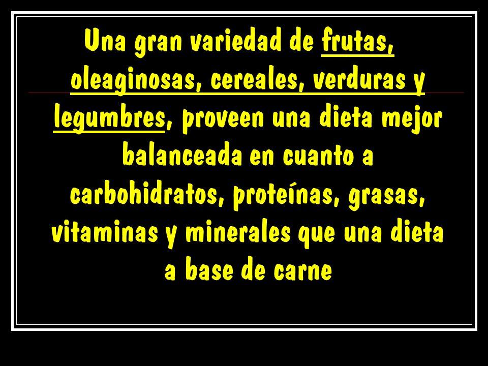 Una gran variedad de frutas, oleaginosas, cereales, verduras y legumbres, proveen una dieta mejor balanceada en cuanto a carbohidratos, proteínas, gra