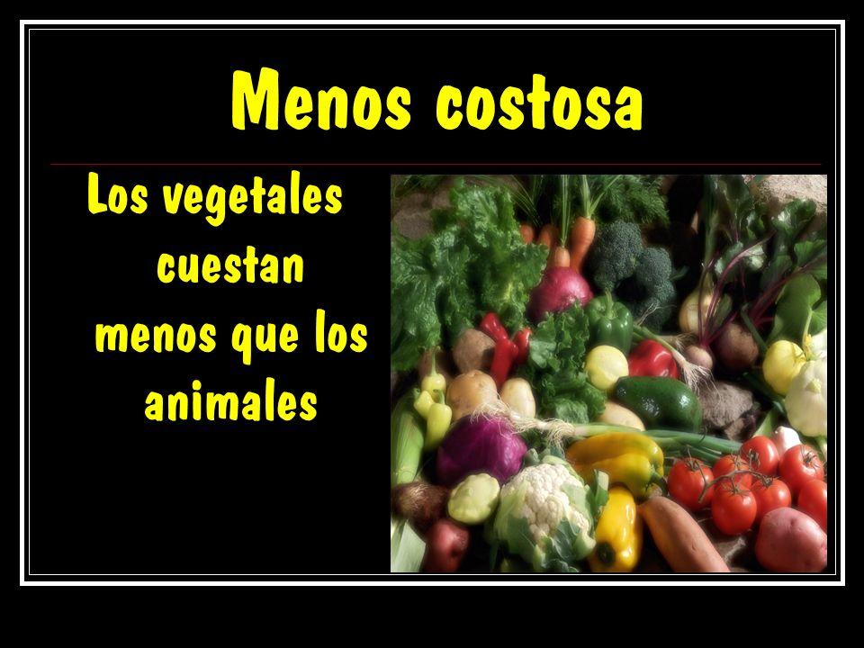 Menos costosa Los vegetales cuestan menos que los animales